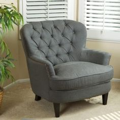 Christopher Knight Home Tafton Tufted Grey Fabric Club Chair