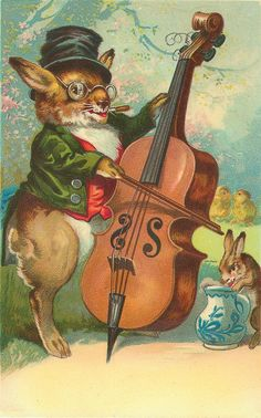 Drawing of a spectacled rabbit playing the violin.