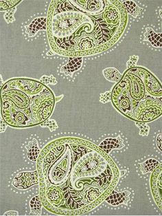 """Tranquil Turtles Fossil.  Tommy Bahama Fabric - Island Memories Collection. 100% cotton canvas batik print. Multi purpose home decorator fabric for drapery, upholstery, pillows, top of the bed or slipcovers. V 13.5"""" / H 13.5"""". Made in U.S.A. 54"""" wide."""