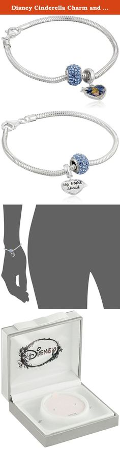 """Disney Cinderella Charm and Light Sapphire Crystal Bead Bundle Charm Bracelet, 7.5"""". Have courage and be kind with our Cinderella charm starter bracelet, fits most other beads and charms. Charm: Bead:0.4""""H x 0.3""""W; Heart: 0.85""""H x 0.54""""W. 7 1/2 inch snake chain, fits most women. Cinderella decal. Made in Thailand."""