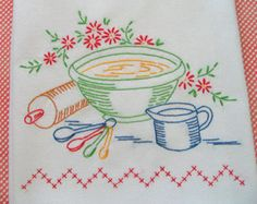Hand Embroidered Dishtowel by ExuberantHousewifery on Etsy