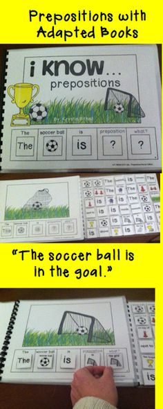 Visual Discrimination - Use adapted books to teach prepositions. Fun, hands on, learning center, or speech therapy lesson. Preposition Activities, Speech Therapy Activities, Language Activities, Book Activities, Speech Language Pathology, Speech And Language, Receptive Language, Special Education, Literacy
