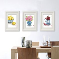 Set of 3 Blue White China- Rose, Chili, Lemon. Art Print from my watercolor painting. Kitchen, home, dining room wall decor. Food Poster