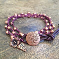 "Tree of Life, Knotted Crochet Leather Multi Wrap, ""Boho Chic"" $38.00"