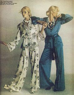 1973 - Ossie Clark Cream flower-print pajama suit by YSL Blue spotted print satin pajamas by Yves Saint Laurent by Brian Duffy 4 Daily Telegraph Moda Fashion, 70s Fashion, Fashion History, Vintage Fashion, Womens Fashion, Cheap Fashion, Ossie Clark, Lauren Hutton, 70s Mode