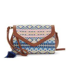 This Cognac Geometric Crossbody Bag is perfect! #zulilyfinds