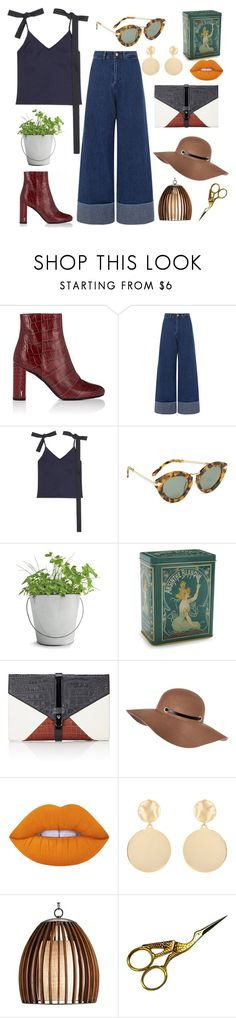 """""""Untitled #217"""" by samanthaanichols on Polyvore featuring Yves Saint Laurent, Sea, New York, Jacquemus, Karen Walker, Potting Shed Creations, Kiss That Frog, Little Liffner, River Island, Lime Crime and Mounser"""