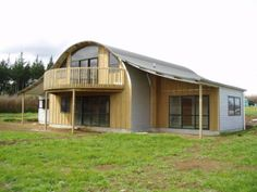 Half Round Barns | Rod Douglas Construction Barn Homes For Sale, Barn Conversion Exterior, Lofted Barn Cabin, Quonset Homes, Farm Shed, House Cladding, Modern Barn House, Black House Exterior, New Zealand Houses