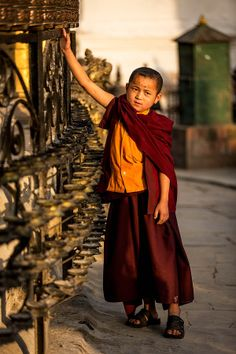 "Buddhist Boy spinning the prayer wheel at the ""Monkey Temple"". by Christopher Waddell on Buddha Buddhism, Buddhist Monk, Gautama Buddha, Live Action, Avatar, Buddhist Philosophy, Little Buddha, The Monks, People Around The World"
