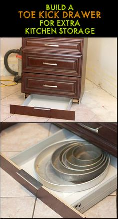 Can't seem to have enough kitchen storage space? Well, how about making use of the space in the toe kick - that area between your cabinet's base and the floor?