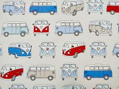Camper van fabric - blue, red, beige van, suitable for curtains, blinds, soft furnishing, craft 1 yard
