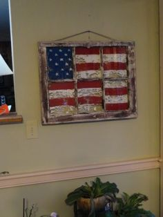 Vintage old wood window sash frame americana flag painted primitive shabby barn
