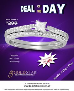 Grab Today's Deal of the Day. A Gorgeous Diamond Bridal Ring at amazingly low price by Avianna Collection.