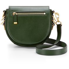Rental Rebecca Minkoff Handbags Small Astor Saddle Bag ($35) ❤ liked on Polyvore featuring bags, handbags, shoulder bags, purses, green, leather man bag, hand bags, handbags purses, green leather purse and leather handbags
