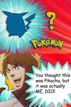 Funny Pokemon x #JJBA Meme. Dio and Pikachu.