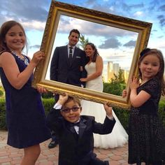 "103 Likes, 3 Comments - Bob Conti (@bobconti_) on Instagram: ""Frame your photo opp... #weddingideas loving this photo idea where the kids can help.....…"""