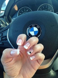 French manicure with cute little heart! Love it!!!
