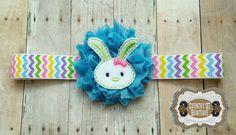 Shabby Flower Bunny Headband by CountryQTBowtique on Etsy