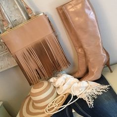 """BCBG Tall High Heeled Boots These stunning Camel Leather Boots will make you feel like the Original Pretty Women. With a bit of Gaitor inlay and 4"""" heels your sure to turn heads! BCBG Shoes Heeled Boots"""