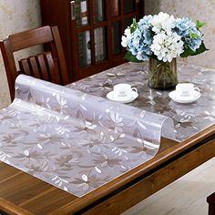 Pvc tablecloth waterproof and anti-transparent transparent table cloth plastic table mats free of tea mats-E 90x150cm(35x59inch)