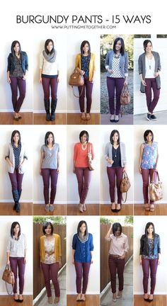 More outfit ideas for my maroon pants. Putting Me Together: 15 Ways to Wear Burgundy or Maroon Pants Maroon Pants Outfit, Maroon Jeans, Olive Pants Outfit, Burgandy Skinny Jeans Outfit, Outfits With Gray Pants, Brown Pants Outfit For Work, Pink Jeans Outfit, Skinny Pants Outfits, Colored Jeans Outfits