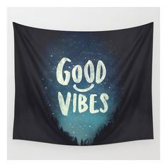 Good Vibes V.2 Wall Tapestry (54 CAD) ❤ liked on Polyvore featuring home, home decor, wall art, wall tapestries, typography wall art, quote wall art, outdoor wall art and home wall decor