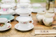 Eclectic tea sets and scrabble signs