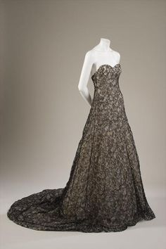 Evening dress Rochas (Olivier Theyskens) Black chantilly lace with black and silver cellophane embroidery, spring 2004, France, Gift of Maison Rochas