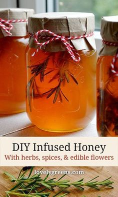 How to infuse honey with herbs, spices, & edible flowers -- each add a delicate aroma and flavor to the honey Honey Recipes, Spiced Honey Recipe, Jam Recipes, Canning Recipes, Drink Recipes, Diy Herb Garden, Infused Oils, Edible Flowers, Kraut