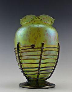 Awe-inspiring Bohemian Art Deco Glass Vase Iridescent Glass