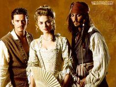 Will Turner (Orlando Bloom), Elizabeth Swann (Keira Knightley), and Captain Jack Sparrow (Johnny Depp). Keira Christina Knightley, Keira Knightley, Orlando Bloom, Johnny Depp, Narnia, Will And Elizabeth, Image Film, Star Wars, Pirate Life
