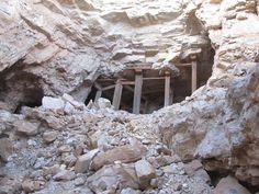 An abandoned mine structure in a dolomite/limestone mine, Carrera, Nevada.