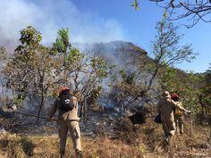 Bombeiros combatem fogo em unidade de conservação e no Parque de Chapada dos Guimarães (MT)