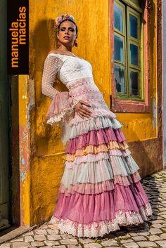 Colección 2019 Manuela Macías Moda Flamenca Flamenco Skirt, Tribal Dress, Wedding Costumes, Dressy Dresses, Folk Costume, Festival Wear, Traditional Dresses, Belly Dance, Dance Wear