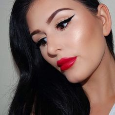 """@makeuphelene has the perfect classic liner + red lip combo! She used our Retractable Lip Liner in """"Red"""" and Soft Matte Lip Cream in """"Monte Carlo"""" to achieve that gorgeous red."""