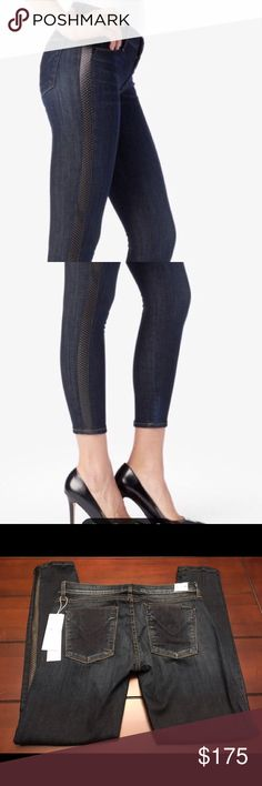 Hudson Ava Super Skinny Jeans-Size 29 (6) Hudson Ava Super Skinny Crop Jeans NWT $298  The Ava super skinny jean features super-stretch denim in a great, vintage like wash combined with a perforated leather stripe along the side seams. This jean captures mixed media textures and an athletic feel.  Waist to hem- 35 inches  Inseam- 26.75 inches Hudson Jeans Jeans Skinny