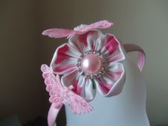 Pretty Floral Fabric Flower with Pink Tulle Sequinned Butterflies.