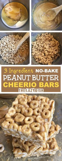 3 Ingredient No Bake Peanut Butter Cheerio Bars - A healthy snack or treat made with honey, peanut butter and Cheerios! A quick and easy kids snack idea. The Lazy Dish snacks 3 Ingredient Peanut Butter Cheerio Bars - The Lazy Dish Yummy Snacks, Delicious Desserts, Yummy Food, No Bake Snacks, Peanut Butter Cheerio Bars, Peanut Butter Healthy Snacks, Easy Healthy Snacks, Healthy Desserts For Kids, Healthy Eats