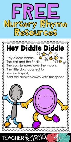 3 FREE nursery rhyme resources includes printable readers and ebook! These are just perfect for guided reading groups. To get your FREE Hey Diddle Diddle Reader Set, please click Nursery Rhymes Kindergarten, Free Nursery Rhymes, Rhyming Kindergarten, Nursery Rhyme Crafts, Nursery Rhymes Lyrics, Nursery Rhyme Theme, Rhyming Activities, Preschool Songs, Kindergarten Reading