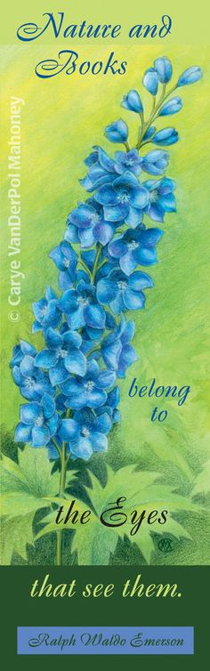 Bookmark  Blue delphinium flower with Ralph by CaryeVDPMahoney, $3.00