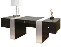 Premium Modern Executive Desk in Wenge & Brushed Aluminum