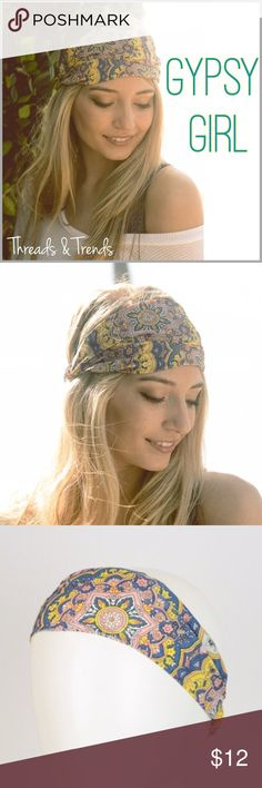 Gypsy Girl Headband Gypsy girl paisley headband. Multi colors of yellow, pink and blue. Accessories Hair Accessories