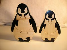 Mother And Baby Wooden Penguin Puzzle by BOARDSCROLLER on Etsy Adorable puzzles that even stand on their own