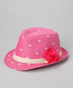 Take a look at this Hot Pink Flower Fedora by Dress Up Dreams Boutique on #zulily today!