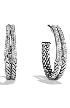 David Yurman 'Labyrinth' Hoop Earrings with Diamonds available at #Nordstrom