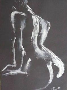 "Saatchi Art Artist Carmen Tyrrell; Painting, ""Black And White Back 3 - Female Nude"" #art"
