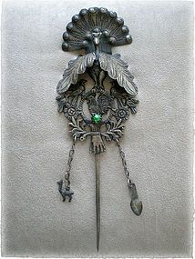 RARE MUSEUM QUALITY ANTIQUE PERUVIAN PEACOCK TUPU PIN South America, Central America, Animals And Pets, Steampunk, Clock, Victorian, Spanish Colonial, Jewels, Beauty Ideas