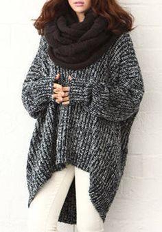 Black Plain V-neck Bat Sleeve Wool Blend Sweater