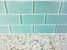 Turquoise glass subway tile backsplash with recycled glass countertops in kitchen | Flickr - Photo Sharing!