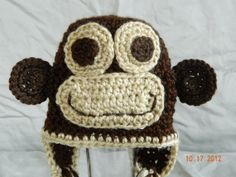 monkey hat crochet with earflaps sizes 1224 by hooliganshobby, $20.00